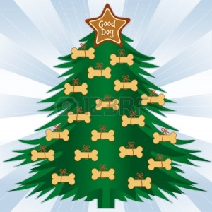 15258764-good-dog-christmas-tree-gingerbread-dog-bone-treats-star-ornament-blue-ray-background